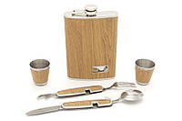 Фляга плоская с рюмками + ложка, вилка, нож и открывашка 09-HF