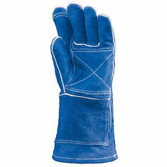 Термостойкие перчатки с крагой спилковые, термозащита до 500°С.