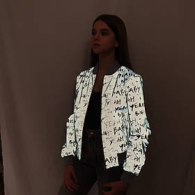 Светоотражающая ветровка-бомбер куртка из рефлективной ткани с принтом, размеры 38-46