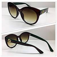 Стильные очки солнцезащитные Gucci коричневые зеленые дужки арт 115