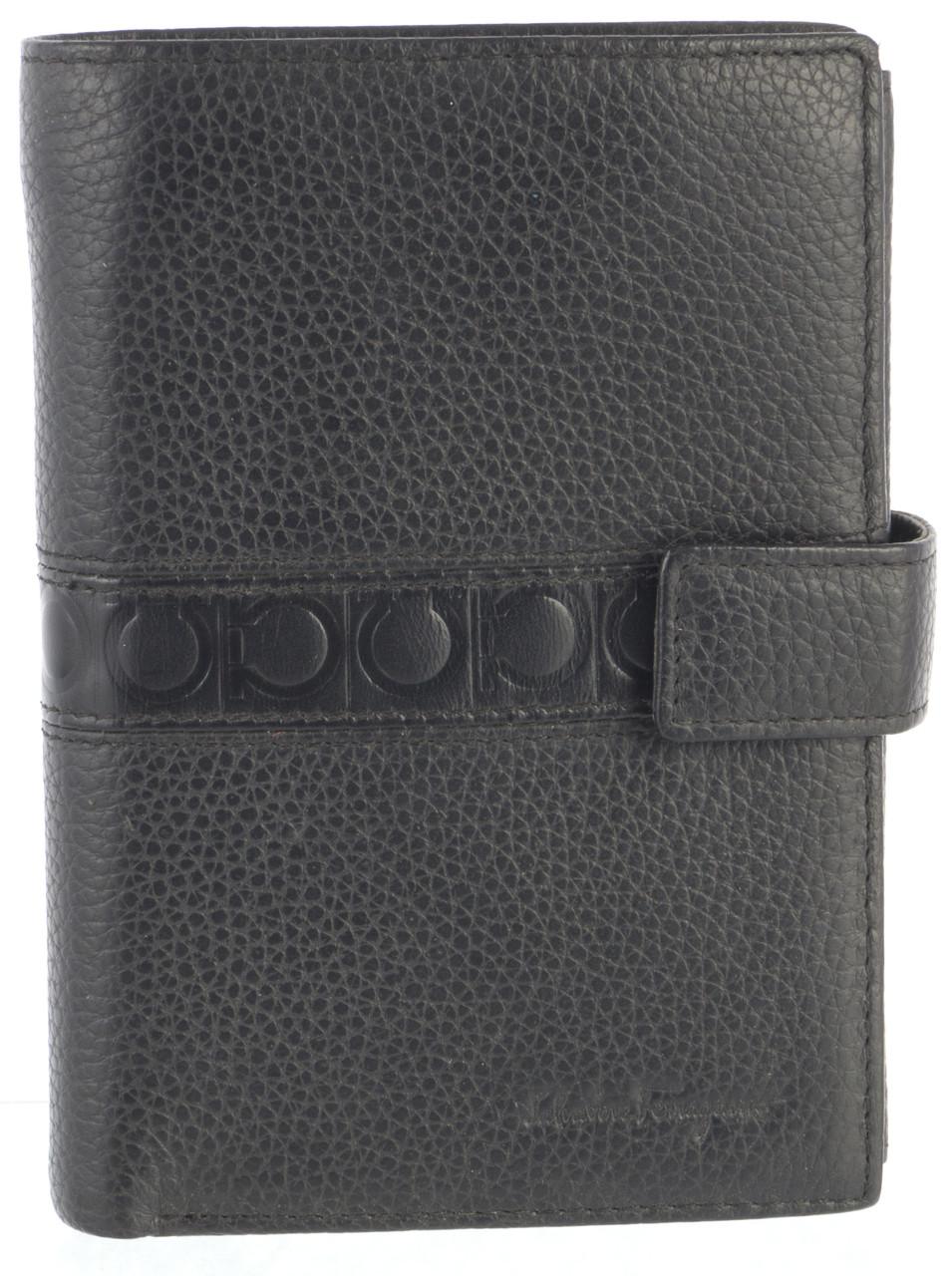 Вместительный стильный кожаный мужское портмоне бумажник из мягкой кожи Salvatore Ferragamoart. SF81-936A черн