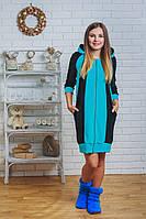 Халат велюровый женский голубой, фото 1