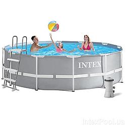 Каркасний басейн Intex 26718 FR (3785 л/год) 366x122 см + Насос-фільтр+ сходи Тришаровий