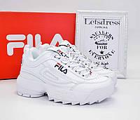 Кроссовки Fila Disruptor 2 II White Женские кожаные Фила Дизраптор белые кроссовки на платформе філа