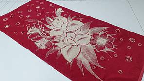 Полотенце Ирисы (красный) (Баня 67*150см)