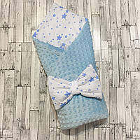 """Двусторонний конверт-плед на выписку """"Kid Way"""" Минки голубой с голубыми звёздами"""