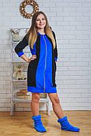 Халат велюровый женский синий, фото 1