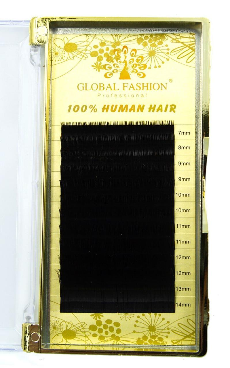 Ресницы для наращивания натуральные Global Fashion 0.15 CC 7-14 мм