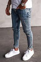 Мужские зауженные к низу джинсы молодежные голубые с дырками на коленях 29,31,32 РАЗМЕРЫ