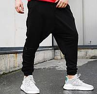 Мужские штаны свободного кроя спортивные широкие весна-осень-лето черные Турция. Живое фото