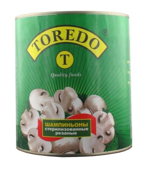 """Гриби шампіньйони стерилізовані різані """"Toredo"""" 2840 г"""