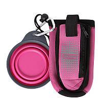 Сумка DEXAS BOTTLE POCKET со складной миской для воды и аксессуаров, розовая