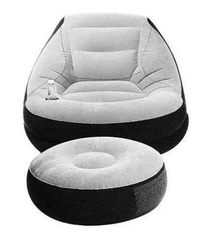Надувное велюровое кресло с пуфиком AIR SOFA серый