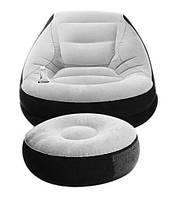 Надувное велюровое кресло с пуфиком AIR SOFA серый, фото 1