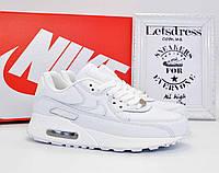 Nike Air Max 90 Leather White Кроссовки женские кожаные Найк Аир Макс 90 белые подростковые найк аір макс