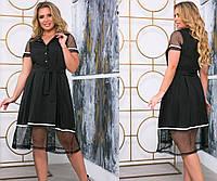 Летнее черное женское платье с сеткой 42 44 46 48 50 52 54