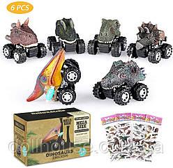 Dinosaurs car, машинка динозавр набір з 6 шт вік 3+ модельки