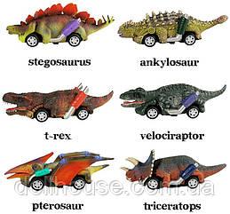 Dinosaurs car, машинка динозавр набір з 6 шт 3+ модельки