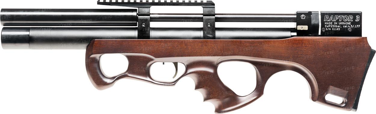 Пневматическая винтовка PCP Raptor 3 Compact Plus 4.5мм 25 Дж коричневый с чехлом