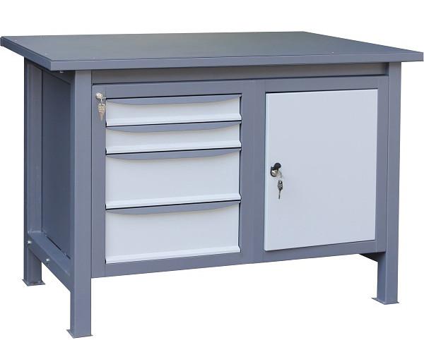 Двухтумбовый верстак слесарный металлический 1500х620х850 на 4 ящика (ВТ 31)