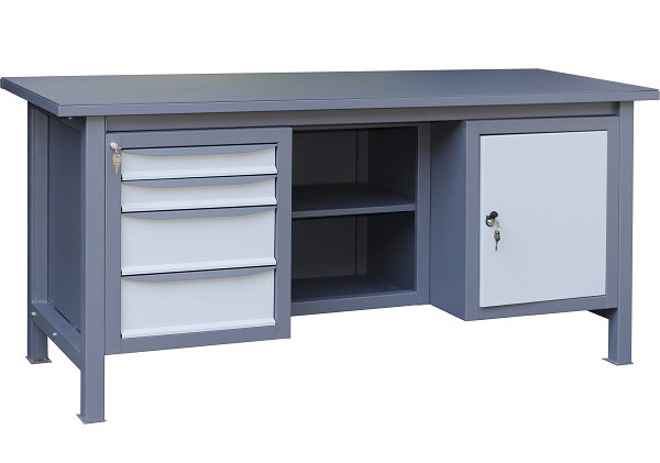 Трехтумбовый верстак слесарный металлический 1800х620х850 (ВТ41) | стол инструментальный металлический