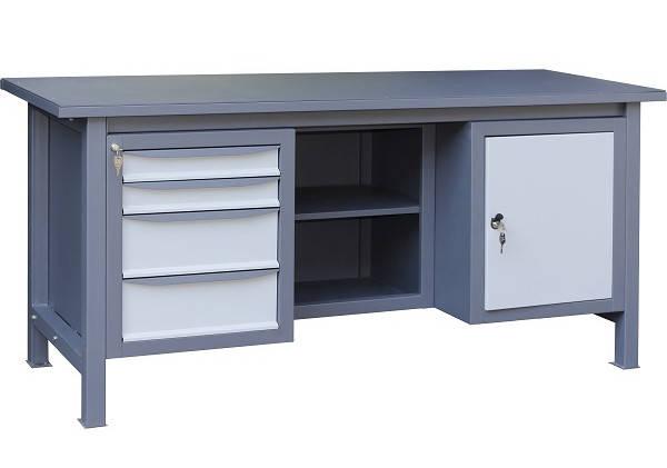 Трехтумбовый верстак слесарный металлический 1800х620х850 (ВТ41) | стол инструментальный металлический, фото 2
