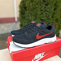 Черные мужские кроссовки в стиле Nike Zoom демисезонные кросовки из текстиля найк на белой подошве