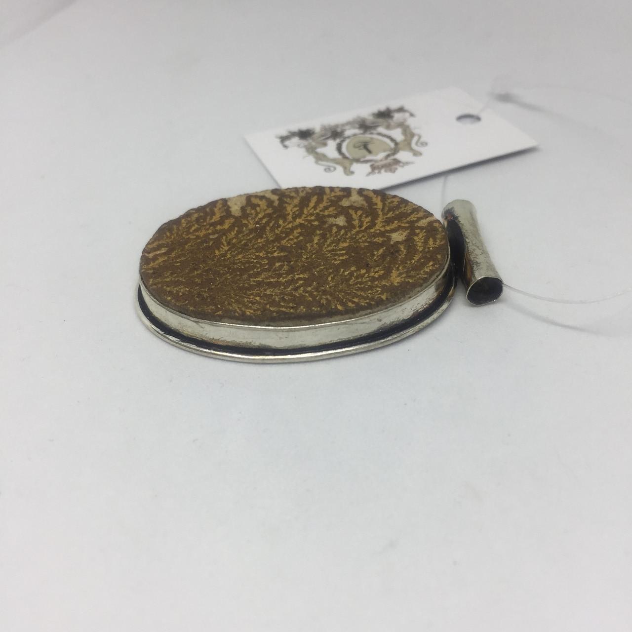 Дендрит немецкий псиломелан кулон с псиломеланом в серебре Индия