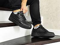 Кроссовки мужские Nike Air Force  Black в стиле Найк Аир Форс 1, черные