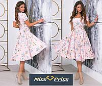 Нежное летнее платье с юбкой-клеш 42 44 46 48 50 52 54