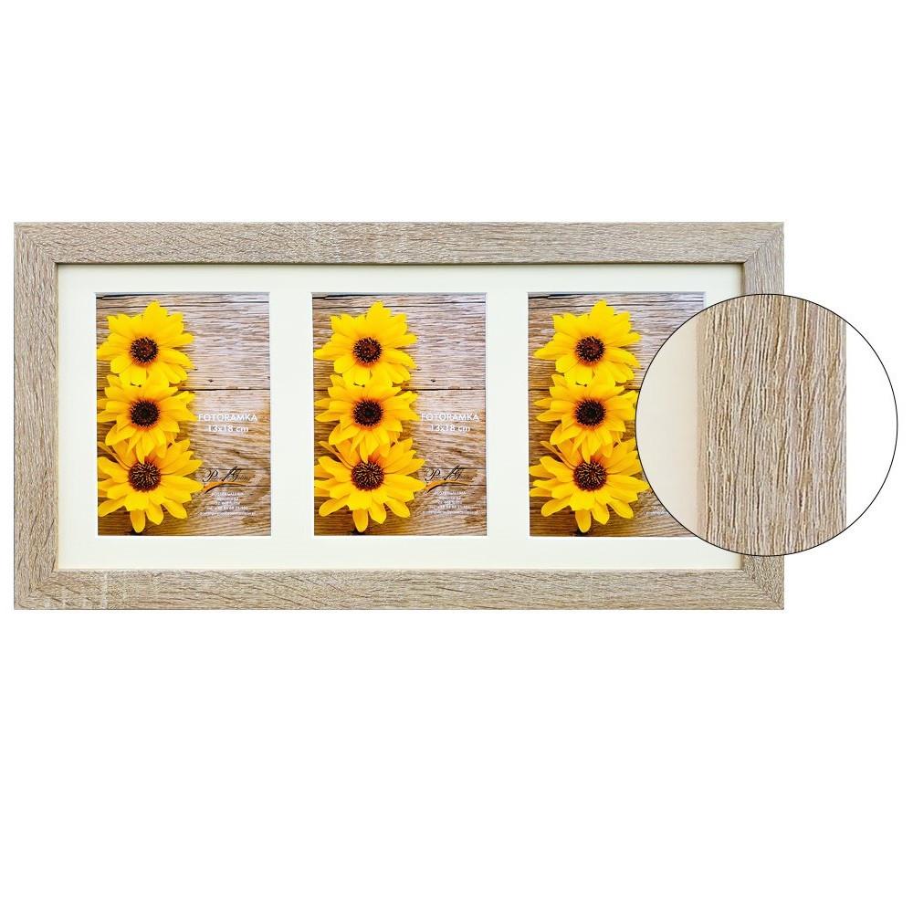 Рамка для 3 фотографий 13х18 см, дуб сонома