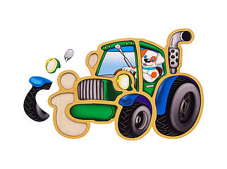 Контурный пазл: Трактор