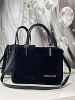 Сумка женская замшевая черная классическая небольшая деловая сумочка натуральная замша+экокожа