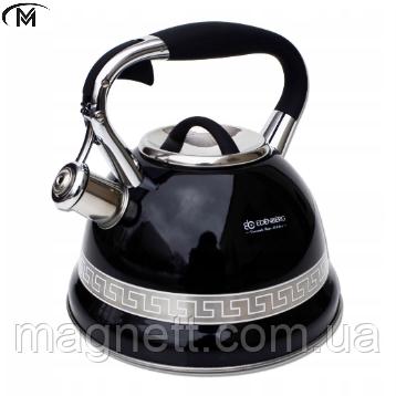 Чайник со свистком меняет цвет при нагревании Edenberg EB-1989 - 3 л, черный