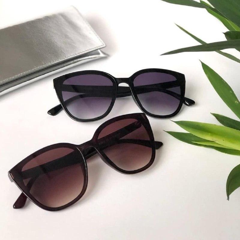 Солнцезащитные очки бабочка Черные с фиолетовой линзой