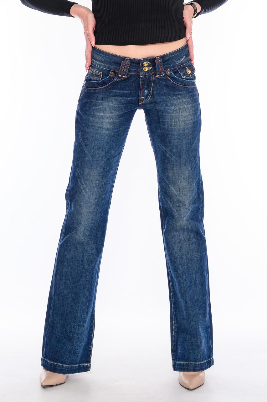 Женские джинсы OMATjeans клёш от колена 9216 синие