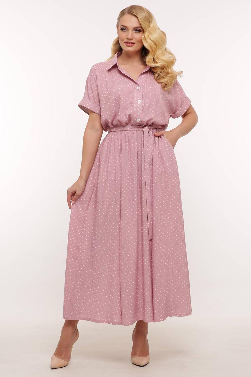 Летнее женское платье из штапеля в рубашечном стиле, размеры 54-60