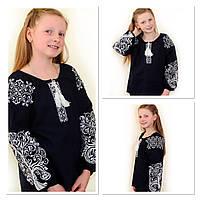 """Стильна дитяча вишиванка """"Міланка"""" на т.синьому льоні , зріст 122-152 см., 550/450 (ціна за 1 шт. + 100 гр.)"""