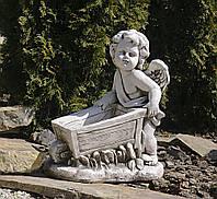 Садовая фигура для сада Ангел с тележкой 43x25x52cm