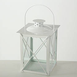 Фонарь подсвечник Маяк белый металл h 20 cm