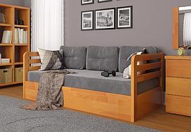 """Дитяче дерев'яне ліжко """"Немо люкс"""" з підйомним механізмом вільха. Фабрика Арбор Древ"""