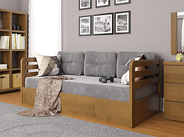"""Дитяче дерев'яне ліжко """"Немо люкс"""" з підйомним механізмом горіх. Фабрика Арбор Древ"""