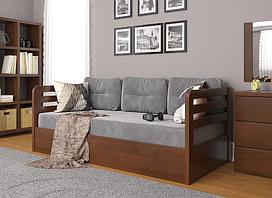 """Дитяче дерев'яне ліжко """"Немо люкс"""" з підйомним механізмом горіх темний. Фабрика Арбор Древ"""