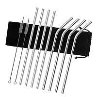 Металлические эко трубочки для смузи диаметр 8 мм STRAWS BAR соломинки для коктейлей из металла в наборе 8