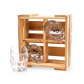 Набор 4 рокса для виски BST 520015 23х21х11 см.