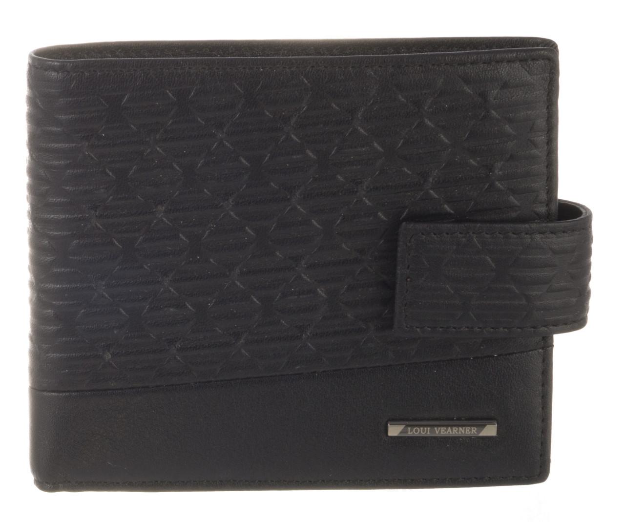 Элитный стильный прочный бумажник из натуральной качественной кожи LOUI VEARNER art. LOU82-591A черный