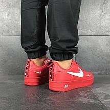 Красные кеды мужские кожа прессованная прошиты, фото 3