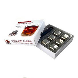 Камни кубики для виски металлические набор 6 шт. BST 720002 27х27 мм. серебристый