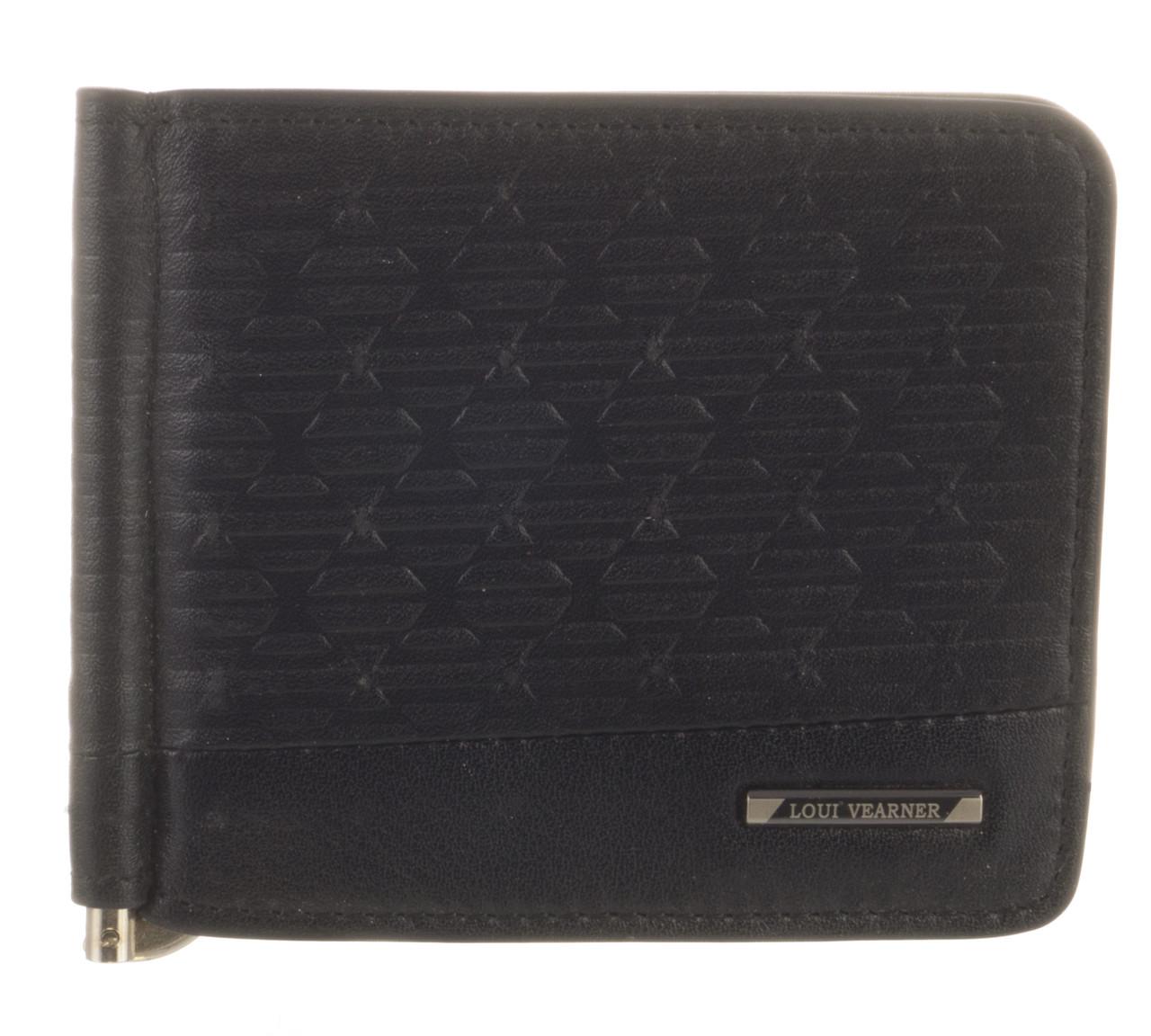Элитный стильный прочный зажим для денег из натуральной качественной кожи LOUI VEARNER art. LOU82-613A черный