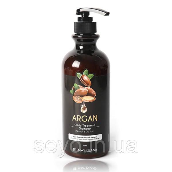 Восстанавливающий шампунь с аргановым маслом  May Island Argan Clinic Treatment Shampoo, 750 мл